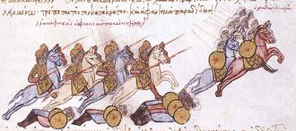 Battle of Andrassos - Depiction of the Sayf al-Dawla's flight in the Madrid Skylitzes