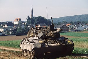 CENTAG wartime structure in 1989 - A Leopard 1 tank of 1st Platoon, 4th Company, 153rd Panzer Battalion during REFORGER '83 near Effolderbach
