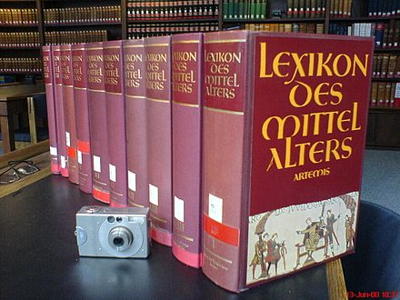 The Lexikon des Mittelalters (Dictionary of the Middle Ages), a specialised German encyclopedia LexikondesMittelalters.JPG