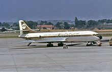 Caravelle de Libyan Arab Airlines à l'aéroport international de Genève (1971).