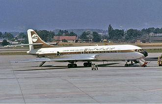 Libyan Airlines - A Libyan Arab Airlines Sud Aviation Caravelle at Geneva International Airport (1971).