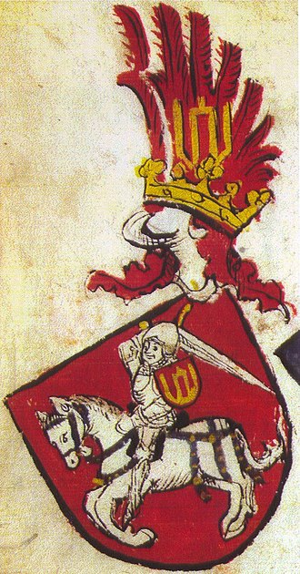 Coat of arms of Lithuania - Vytis on a knight's coat of arms. From the 15th-century Codex Bergshammar. Attributed to Žygimantas Kęstutaitis