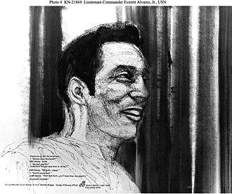 "Everett Alvarez Jr. - Lieutenant Commander Everett Alvarez Jr., ""Welcome Home"" Sketch by combat artist, Dante H. Bertoni."