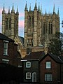 Lincoln Cathedral Towers from Drury Lane - geograph.org.uk - 1592149.jpg