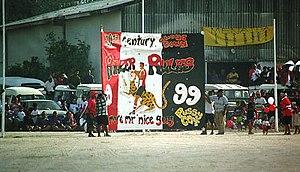 Australian rules football in Nauru - Panzer Saints banner for the 1999 Championship Finale