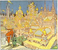 A comic strip panel.  A character in a frilled red suit points a boy at a city with ostentatious architecture.