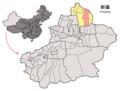Location of Fuyun within Xinjiang (China).png