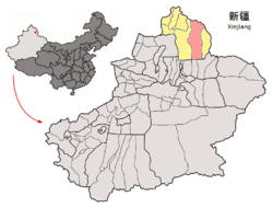 Location of Fuyun County (red) in Altay Prefecture (yellow) and Xinjiang