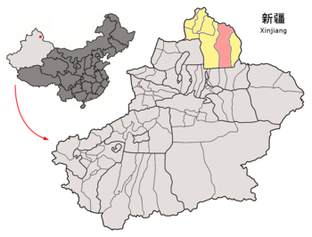 Location of Fuyun within Xinjiang (China).png