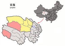 Location of Golmud City (red) in Haixi Prefecture (yellow) and Qinghai
