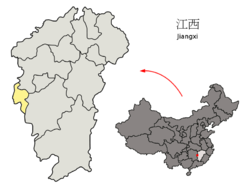 Location of Pingxiang City jurisdiction in Jiangxi