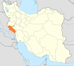Map of Iran with Ilam highlighted