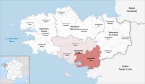 Arrondissement of Vannes - Image: Locator map of Arrondissement Vannes 2017