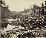 Log jam at the Dalles of the St. Croix