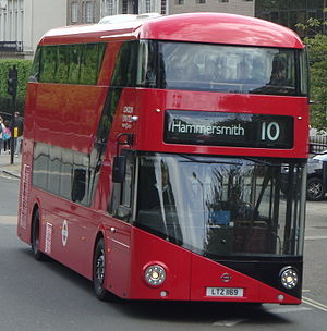 London Buses route 10 - London United New Routemaster in Kensington in April 2014
