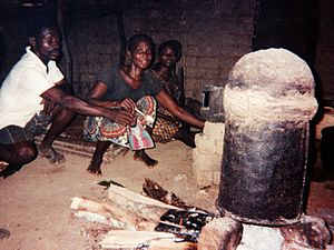Moonshine by country - Lotoko being made from maize, in a still improvised from an oil drum. – Democratic Republic of Congo