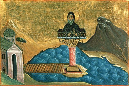 Luke the Stylites (Menologion of Basil II)