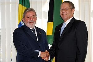 Bruce Golding - Golding with the President of Brazil, Lula da Silva.