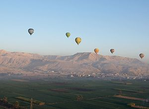 Hot air balloons near Luxor, Egypt