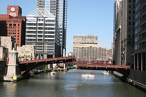 Moveable bridge - Madison Street Bridge, a bascule bridge over the Chicago River in Chicago, IL
