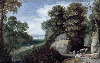 Locus amoenus - Maerten Ryckaert, Rocky Pastoral Landscape