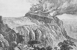 British Expedition to Abyssinia - Magdala burning