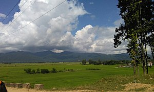 Udayapur District - A view of Mahabharat hills and paddy fields at Udayapur District from Jaljale