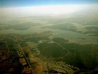 Port Qasim - Aerial picture of Port Qasim, with surrounding Mangrove forests.