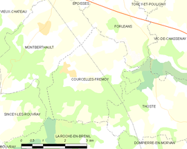 Mapa obce Courcelles-Frémoy