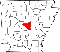 Map of Arkansas highlighting Pulaski County