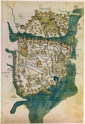 Une carte grossièrement dessinée représentant une ville fortifiée sur une péninsule avec un parc, un réseau de routes et une dispersion de bâtiments