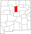 State map highlighting Santa Fe County
