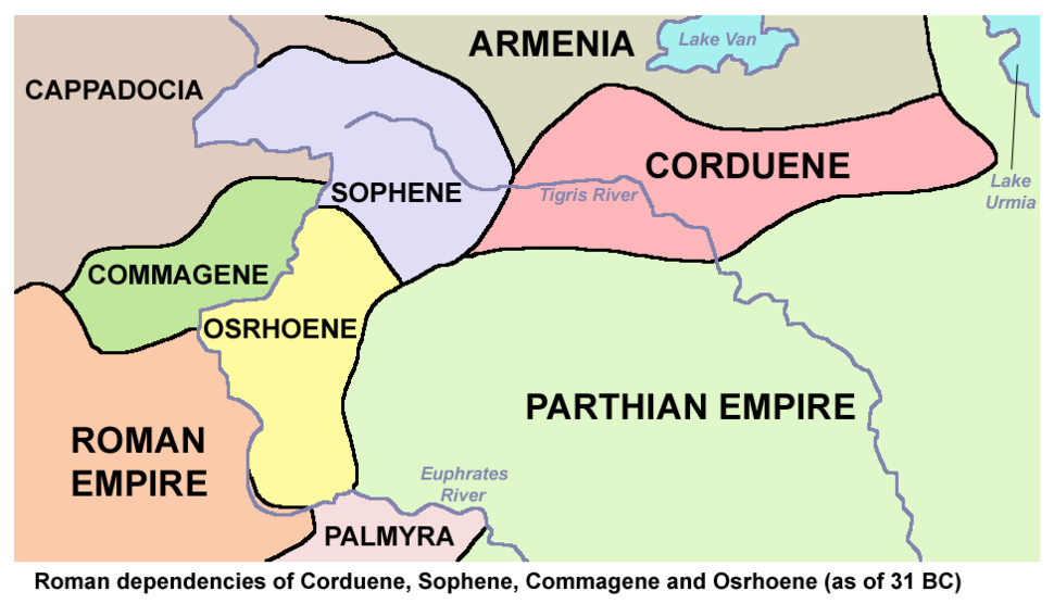 Map of Roman dependency of Sophene, Corduene, Commagene, and Osrhoene as of 31 BC