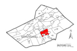 Map of Schuylkill County, Pennsylvania Highlighting North Manheim Township