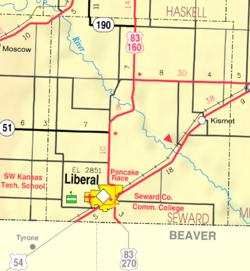 KDOT map of Seward County (legend)