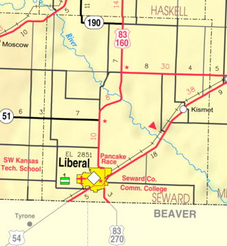 U.S. Route 270 - US 270 begins in Liberal, Kan., and leaves the state three miles south of there.