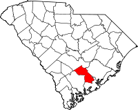 Map of South Carolina highlighting Dorchester County