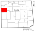 Map of Tioga County Pennsylvania Highlighting Clymer Township.PNG