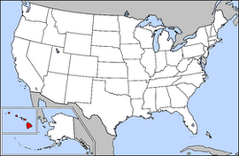 Map of the United States with Hawaii highlighted