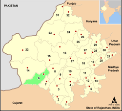 Location of Jalore district in Rajasthan