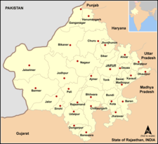 Map of India with the location of Rajasthan highlighted.