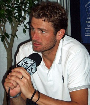 Mardy Fish - Fish at a press conference, August 3, 2010