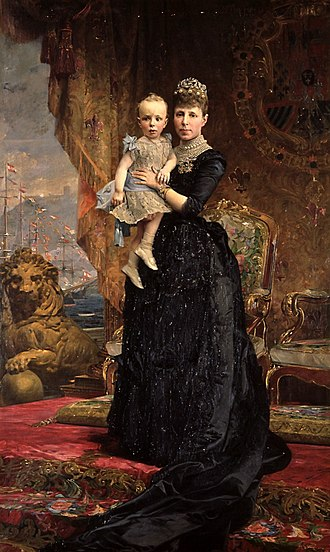 Antoni Caba - Queen Maria Cristina holding her son, King Alfonso XIII (1890)