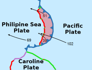 A small tectonic plate west of the Mariana Trench
