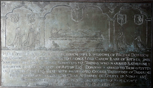 George Carew (priest) - Monumental brass to Mary Carew (died 1604), Sandford Church, Devon