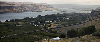 U.S. Route 97 in Washington - An aerial view of Maryhill, the first community on US 97, where the highway travels over the Columbia River on the Sam Hill Memorial Bridge, visible in the background.