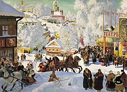 A provincial Russian town in winter.