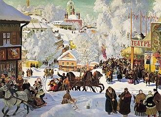 Maslenitsa by Boris Kustodiev, showing a Russian city in winter Maslenitsa kustodiev.jpg
