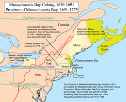 Colonia di Massachussetts Bay - Mappa