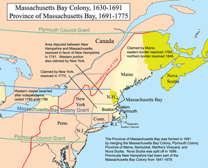 New England Colonies - Major boundaries of Massachusetts Bay and neighboring colonial claims in the 17th century and 18th century. Modern state boundaries are partially overlaid for context.